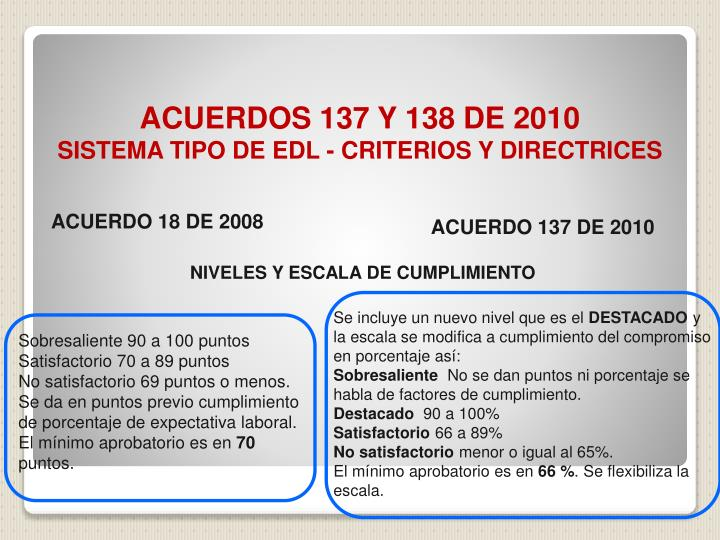 ACUERDOS 137 Y 138 DE 2010