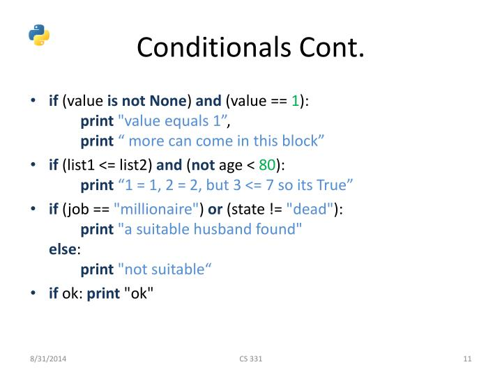 Conditionals Cont.