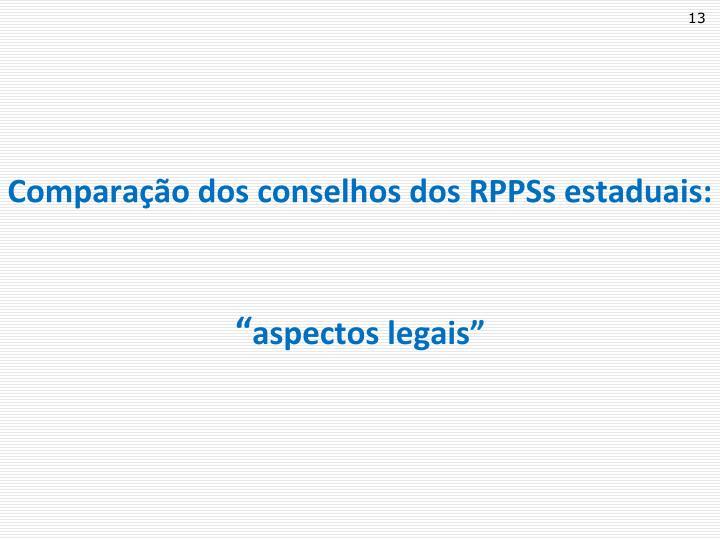 Comparação dos conselhos dos RPPSs estaduais: