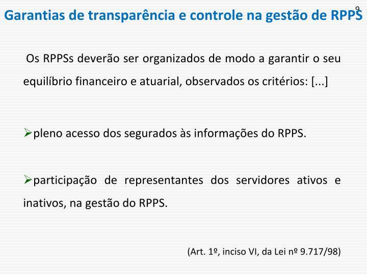 Garantias de transparência e controle na gestão de RPPS