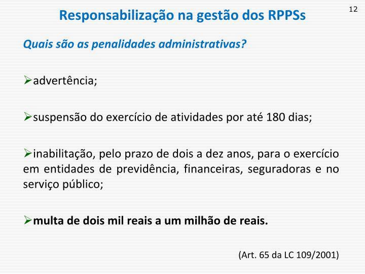 Responsabilização na gestão dos RPPSs