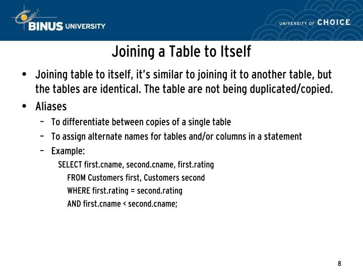 Joining a Table to Itself