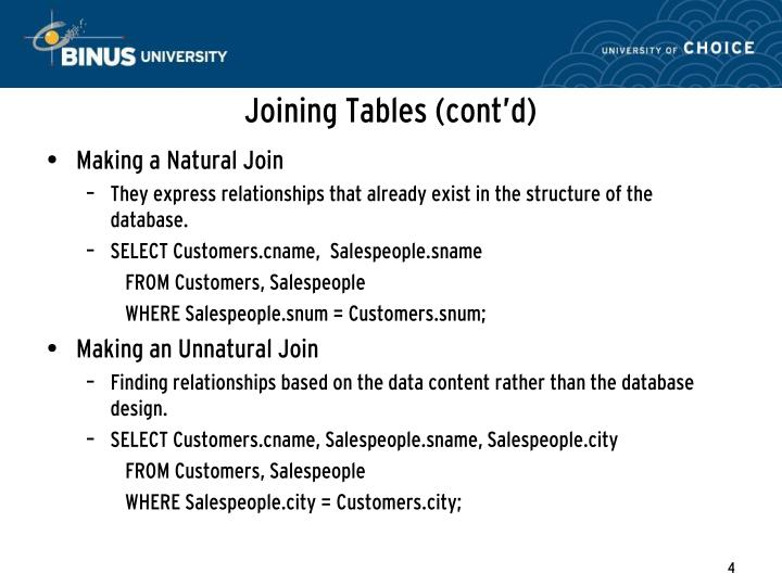 Joining Tables (cont'd)
