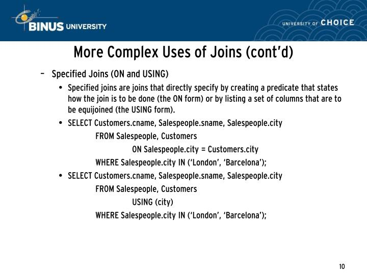 More Complex Uses of Joins (cont'd)