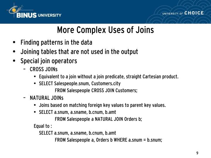 More Complex Uses of Joins