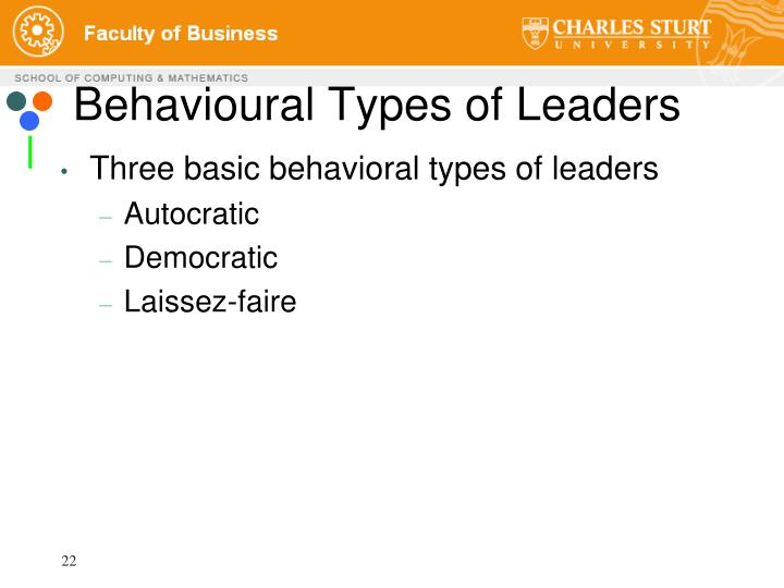 Behavioural Types of Leaders