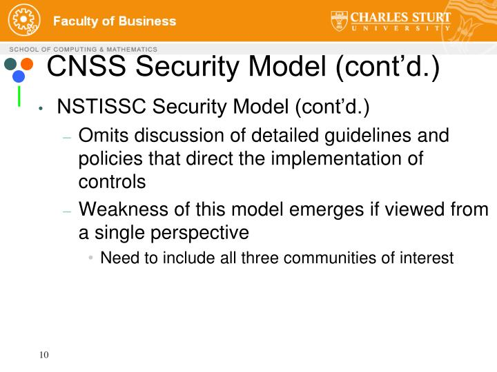 CNSS Security Model (cont'd.)