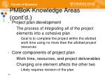 pmbok knowledge areas cont d