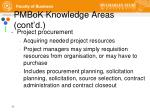 pmbok knowledge areas cont d11