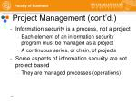 project management cont d