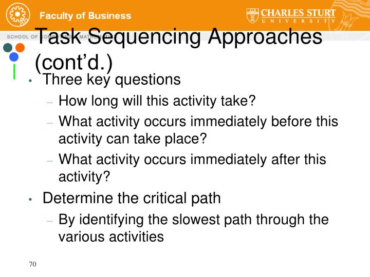 Task Sequencing Approaches (cont'd.)
