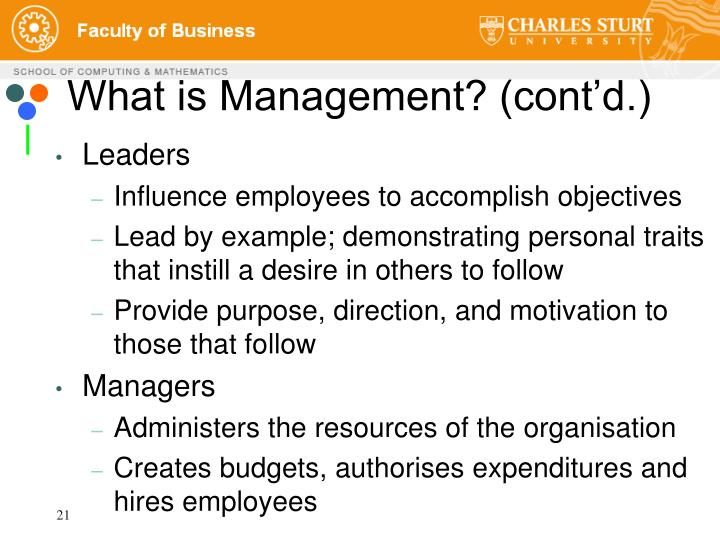 What is Management? (cont'd.)