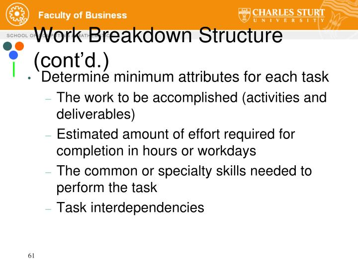 Work Breakdown Structure (cont'd.)