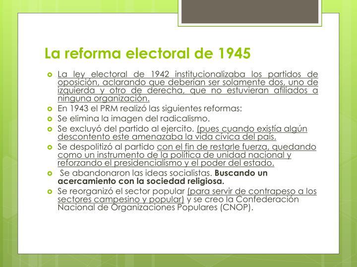 La reforma electoral de 1945