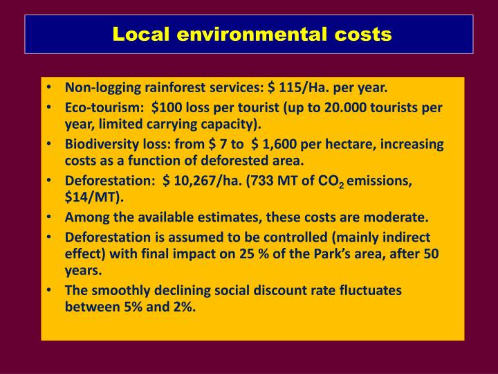 Local environmental costs