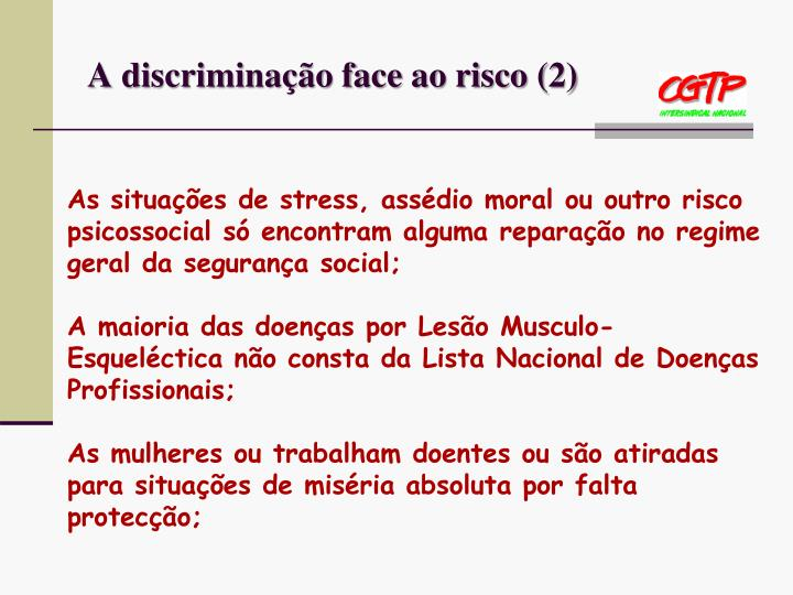 A discriminação face ao risco (2)
