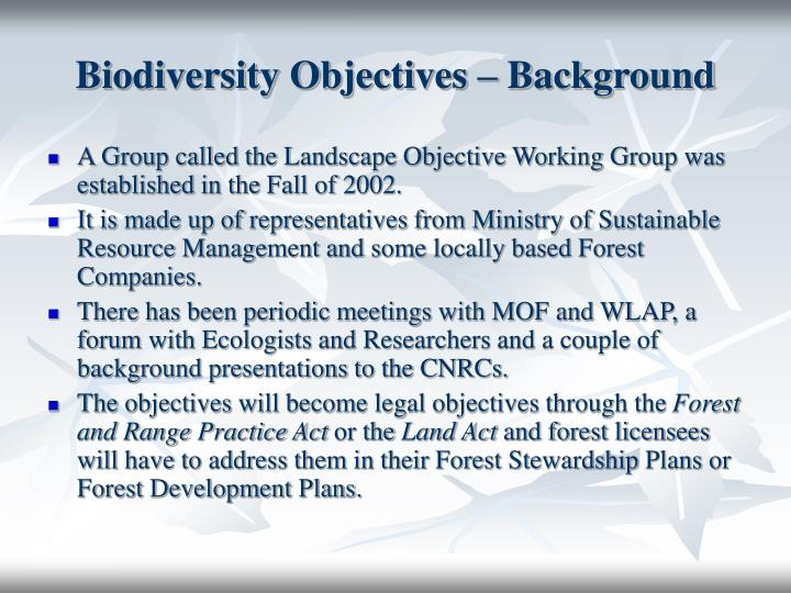 Biodiversity Objectives – Background