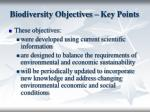 biodiversity objectives key points
