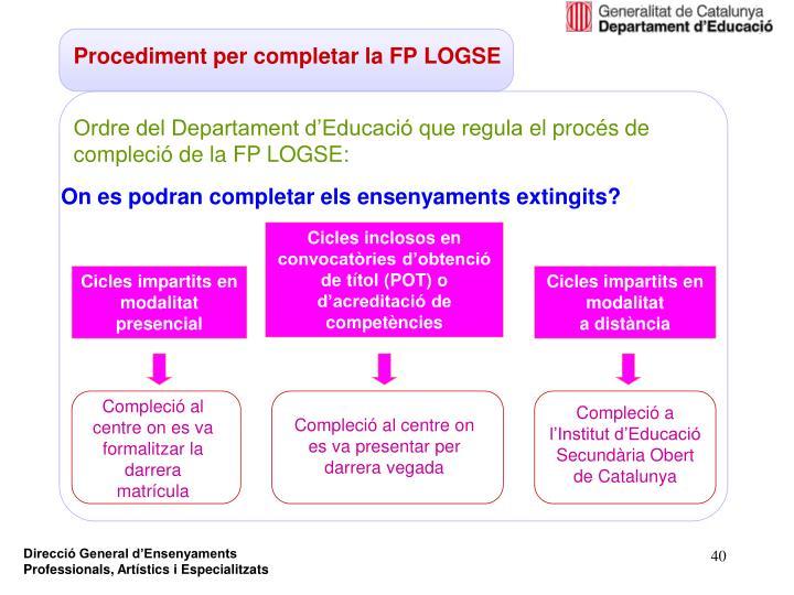 Procediment per completar la FP LOGSE