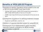 benefits of wog 50 69 program