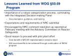lessons learned from wog 50 69 program