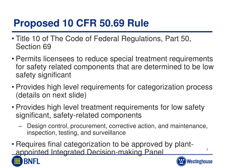 Proposed 10 cfr 50 69 rule