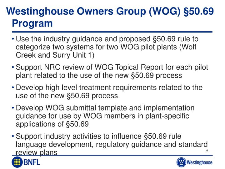Westinghouse Owners Group (WOG) §50.69 Program