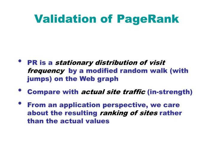 Validation of PageRank