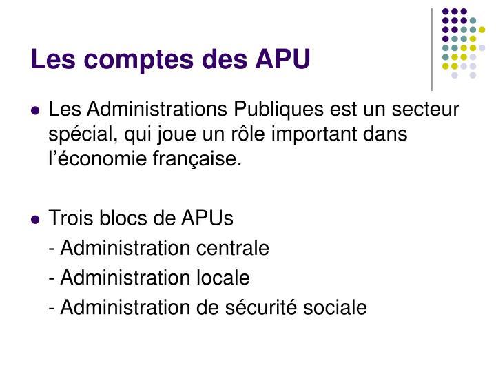 Les comptes des APU