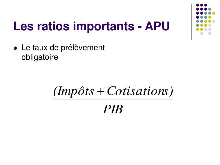 Les ratios importants - APU