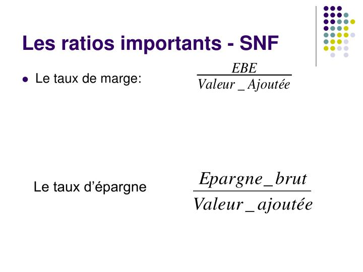 Les ratios importants - SNF
