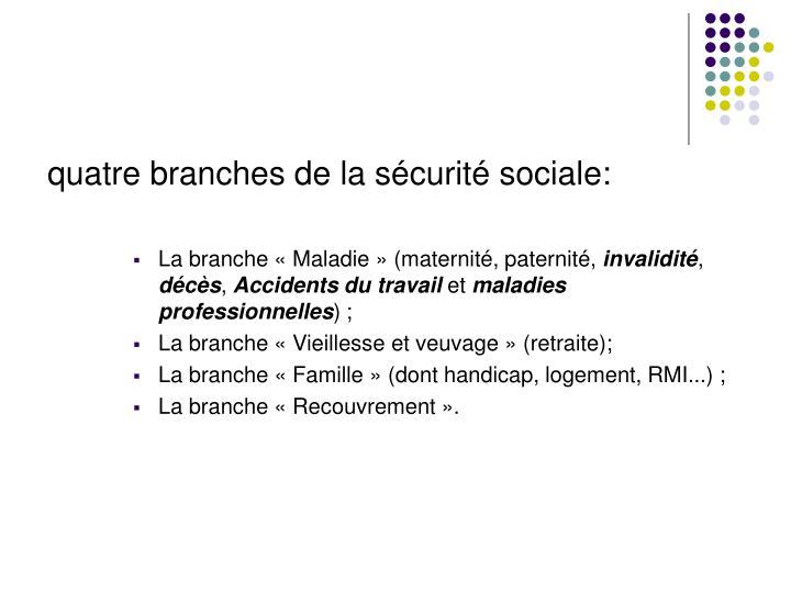 quatre branches de la sécurité sociale: