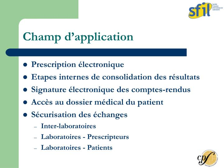 Champ d'application