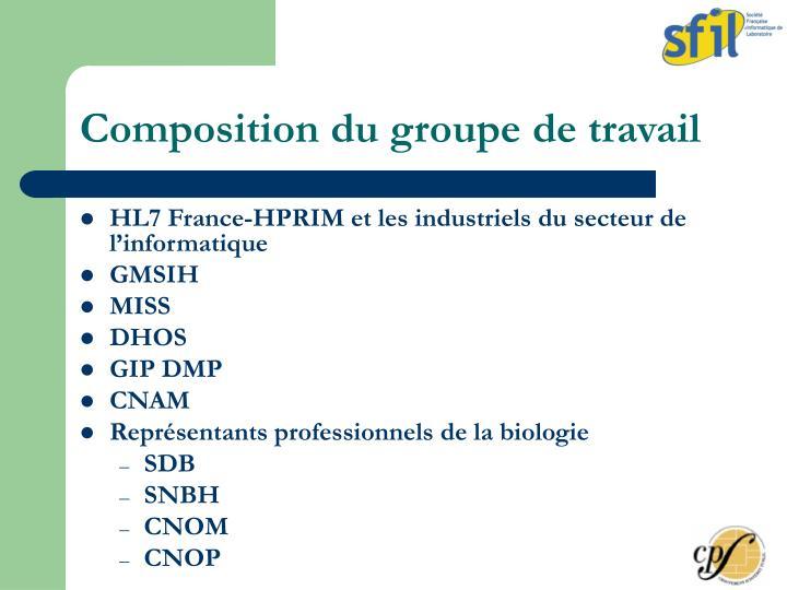 Composition du groupe de travail