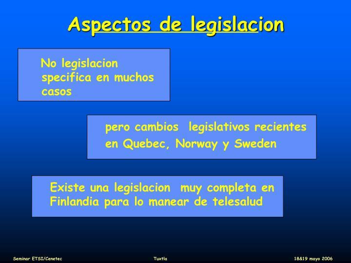 Aspectos de legislacion