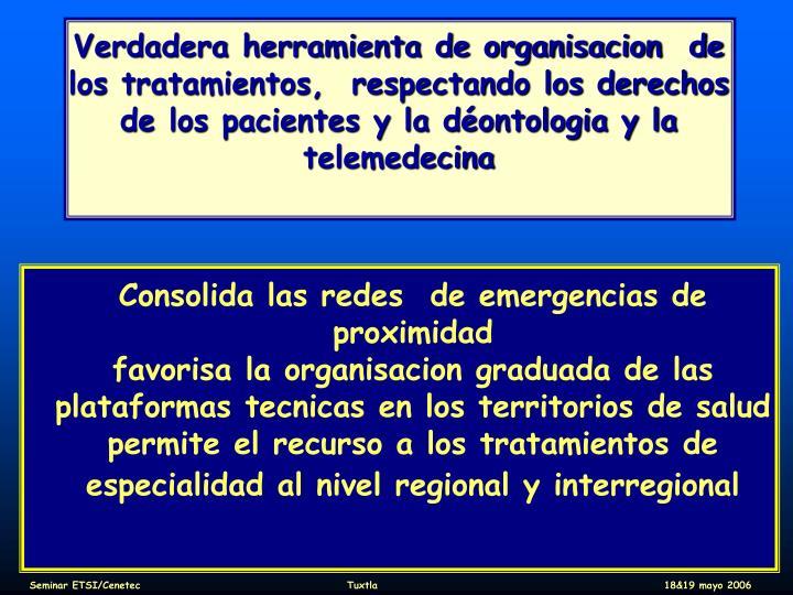 Verdadera herramienta de organisacion  de los tratamientos,  respectando los derechos de los pacientes y la déontologia y la telemedecina