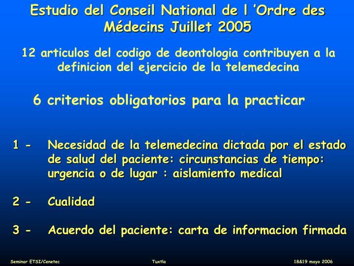 Estudio del Conseil National de l'Ordre des Médecins Juillet 2005