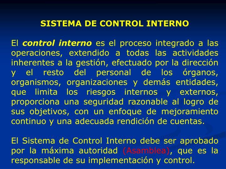SISTEMA DE CONTROL INTERNO