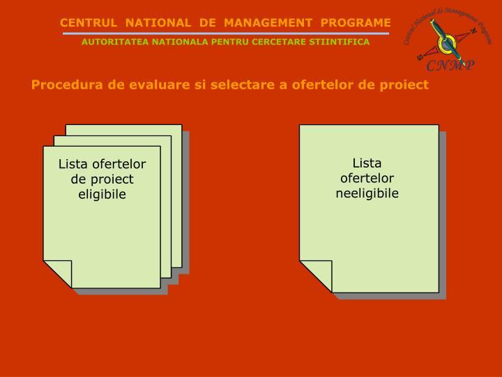 Lista ofertelor de proiect eligibile