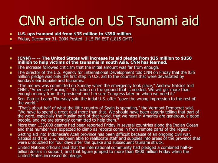 CNN article on US Tsunami aid