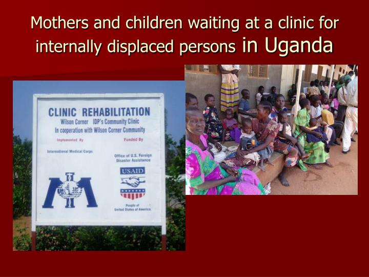 Mothers and children waiting at a clinic for internally displaced persons