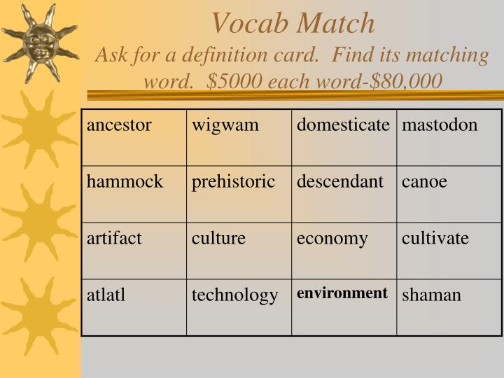 Vocab match ask for a definition card find its matching word 5000 each word 80 000