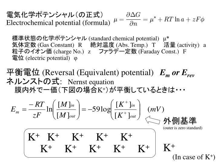 電気化学ポテンシャル(の正式)