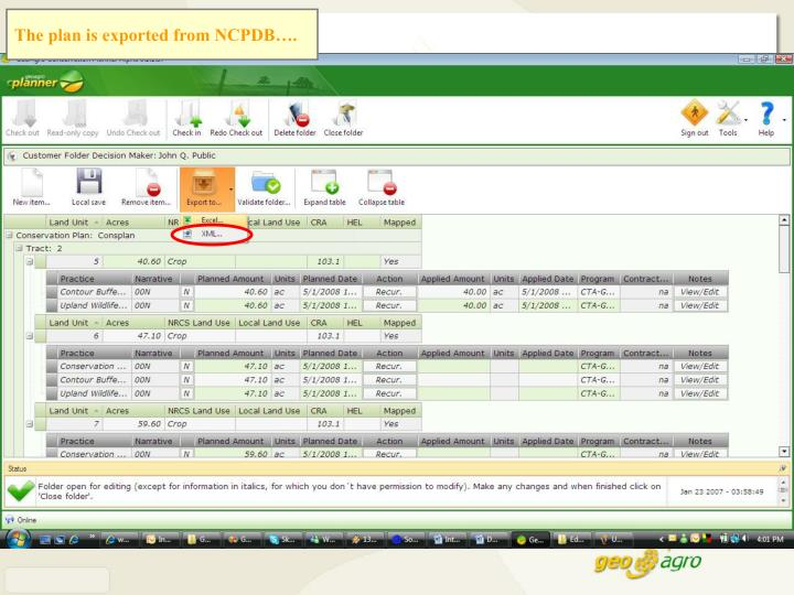 The plan is exported from NCPDB….
