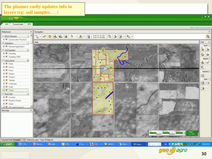 The planner easily updates info in layers (eg: soil samples