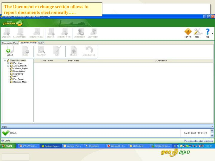 The Document exchange section allows to report documents electronically