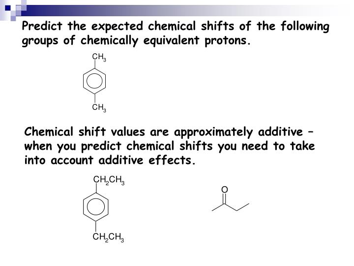 Predict the expected chemical shifts of the following groups of chemically equivalent protons.