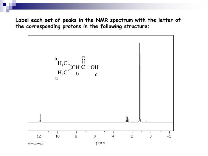 Label each set of peaks in the NMR spectrum with the letter of the corresponding protons in the following structure: