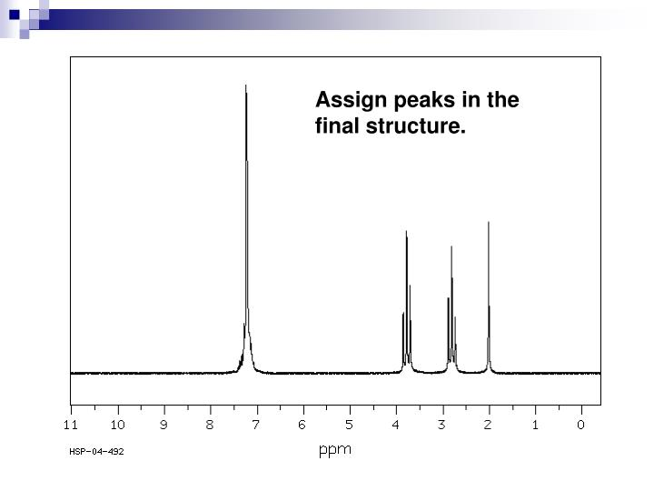 Assign peaks in the final structure.