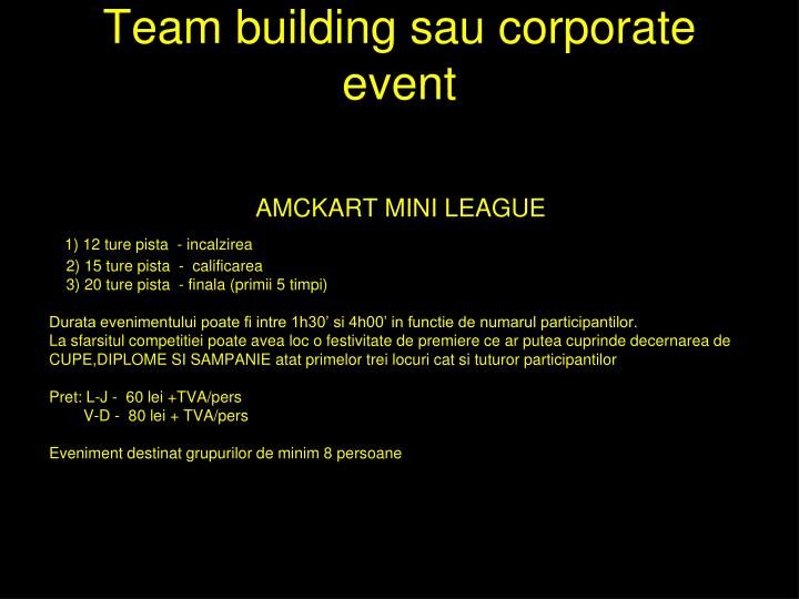 Team building sau corporate event